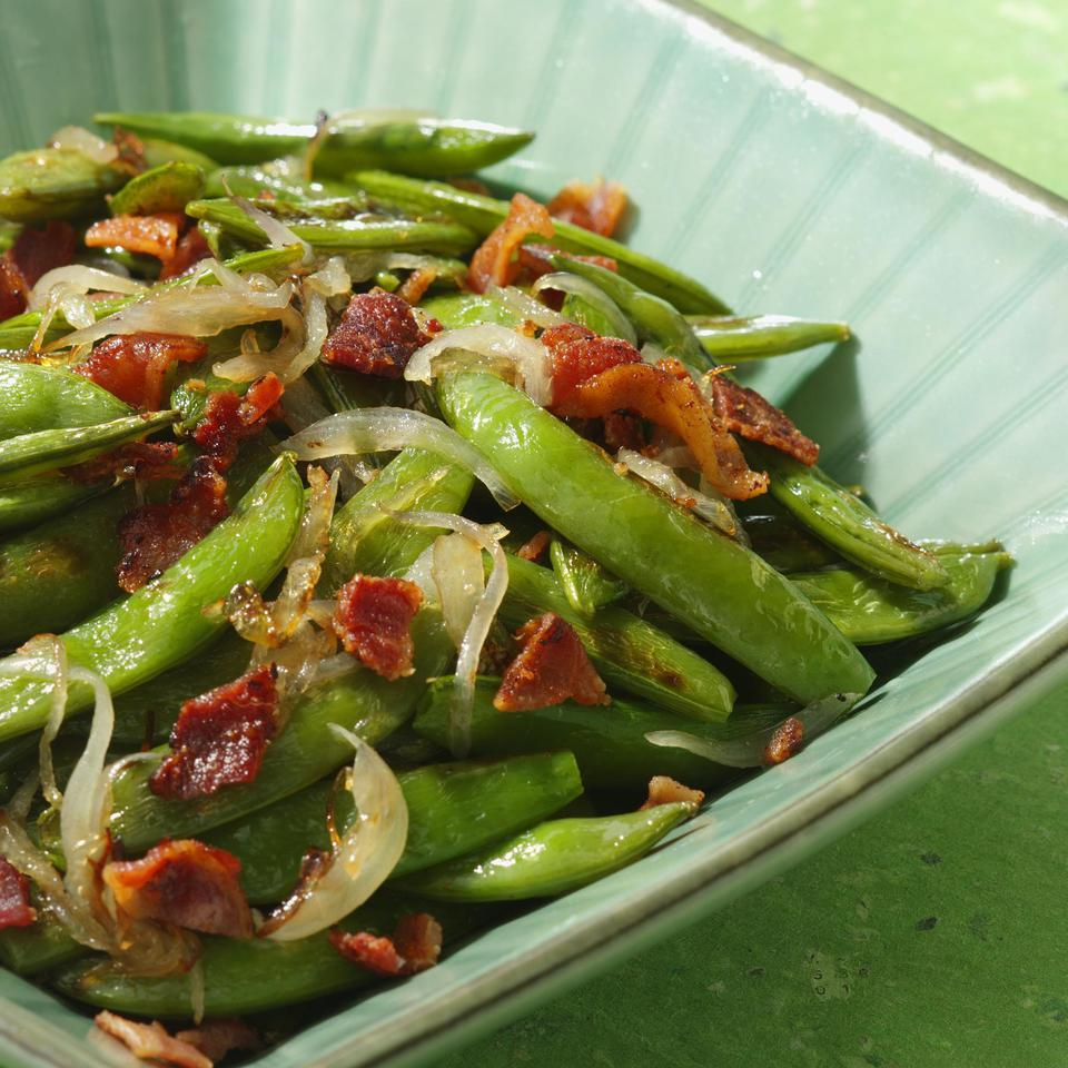 Roasted Snap Peas with Shallots EatingWell Test Kitchen
