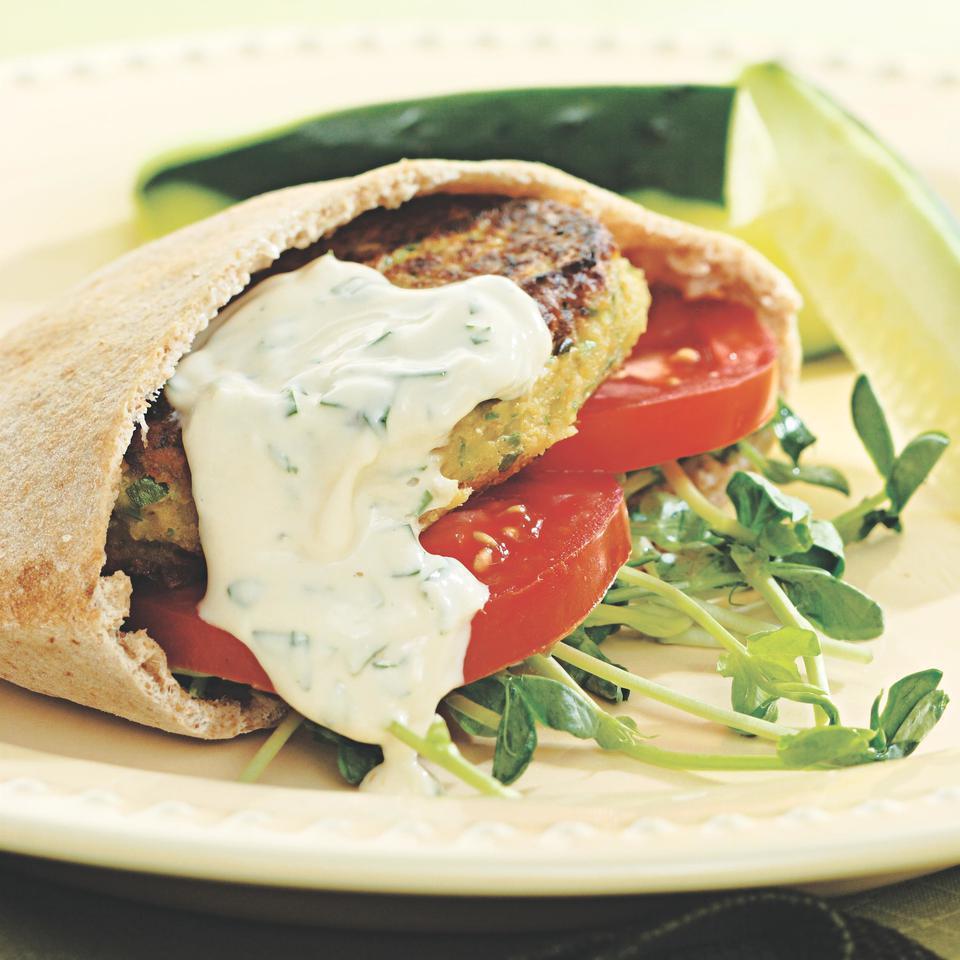 Chickpea Burgers & Tahini Sauce EatingWell Test Kitchen