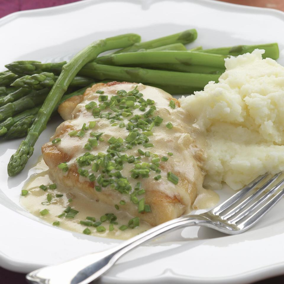 Sauteed Chicken Breasts with Creamy Chive Sauce EatingWell Test Kitchen
