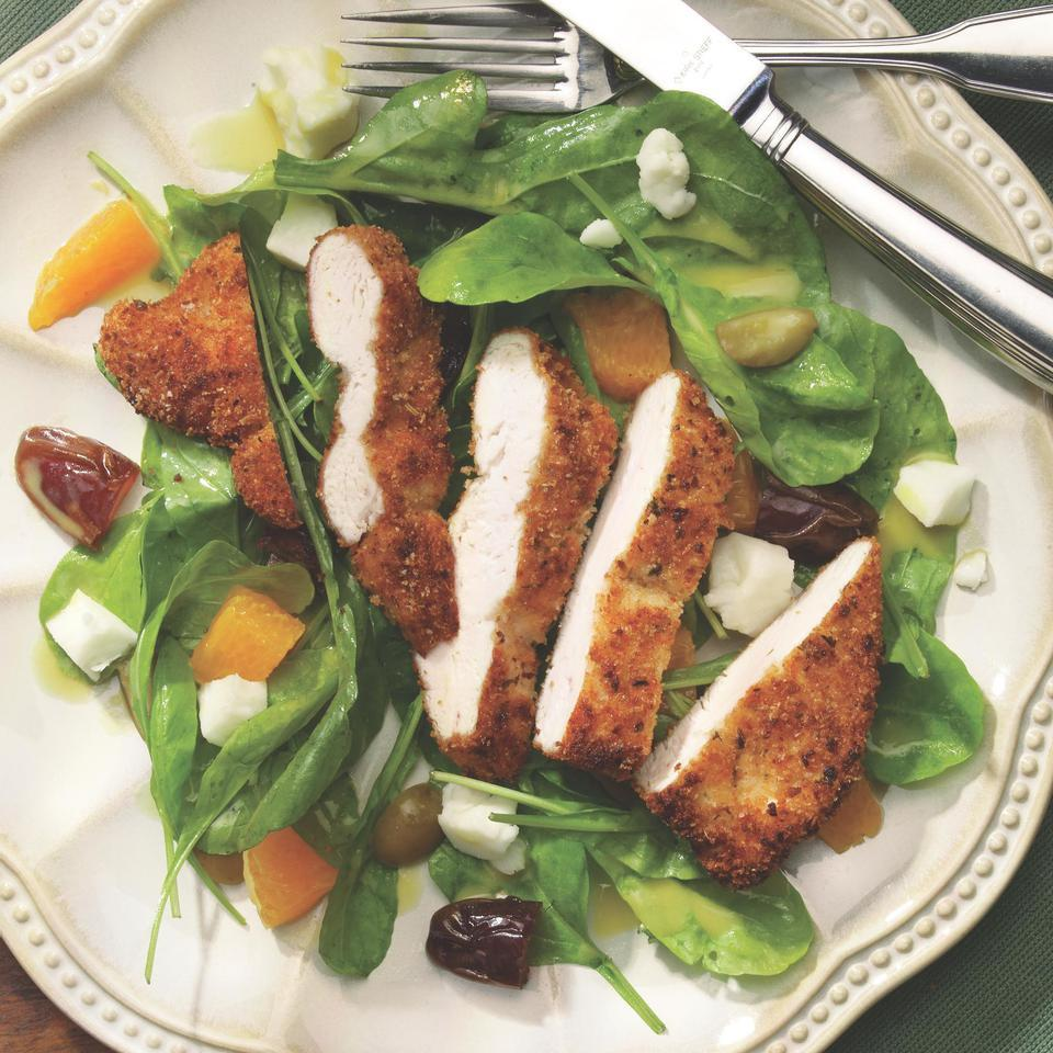 Warm Salad with Chicken Paillards & Chevre Victoria Abbott Riccardi