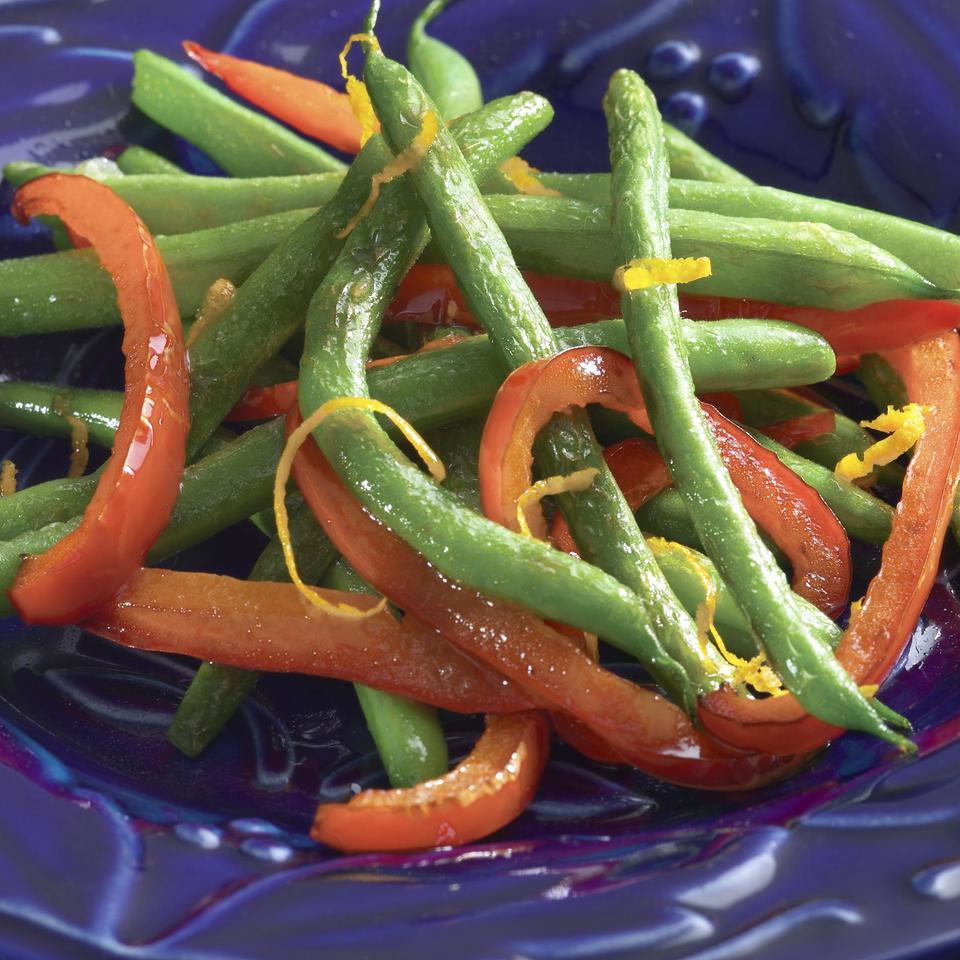 Orange-Infused Roasted Green Beans & Red Peppers EatingWell Test Kitchen