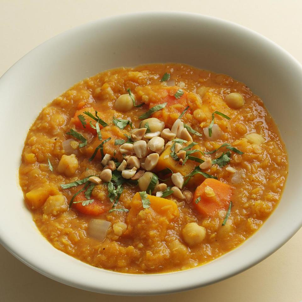 Modeled on North African stews, this aromatic vegetarian main course can be served over brown rice or steamed spinach.