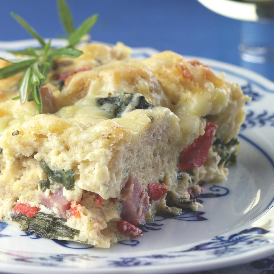 This healthy update of a traditionally rich ham-and-cheese breakfast strata is made lighter primarily by losing a few egg yolks and using nonfat milk. Gruyère cheese has a delicious, nutty aroma and flavor, which means that with the relatively small amount in this recipe you still get a big impact. To finish the makeover use nutritious, fiber-rich, whole-grain bread instead of white. The results: plenty of flavor, half the calories and one-third the fat of the original.