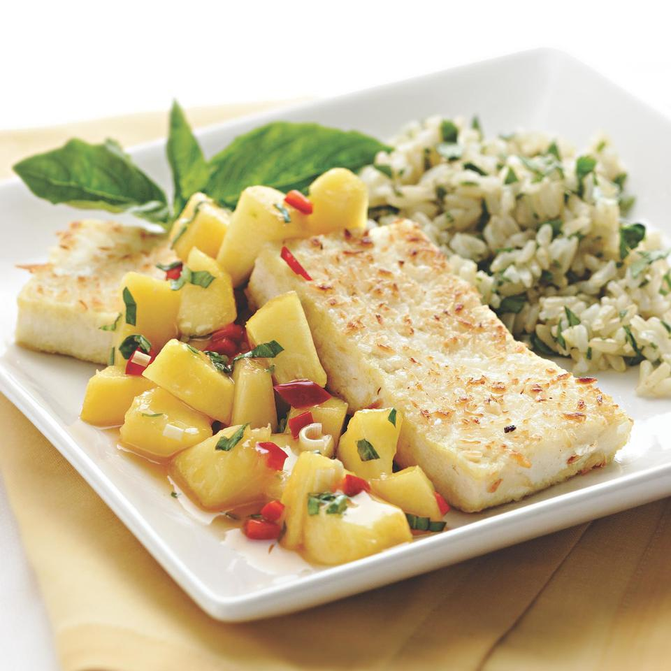 Coconut-Crusted Tofu with Peach-Lemongrass Salsa EatingWell Test Kitchen