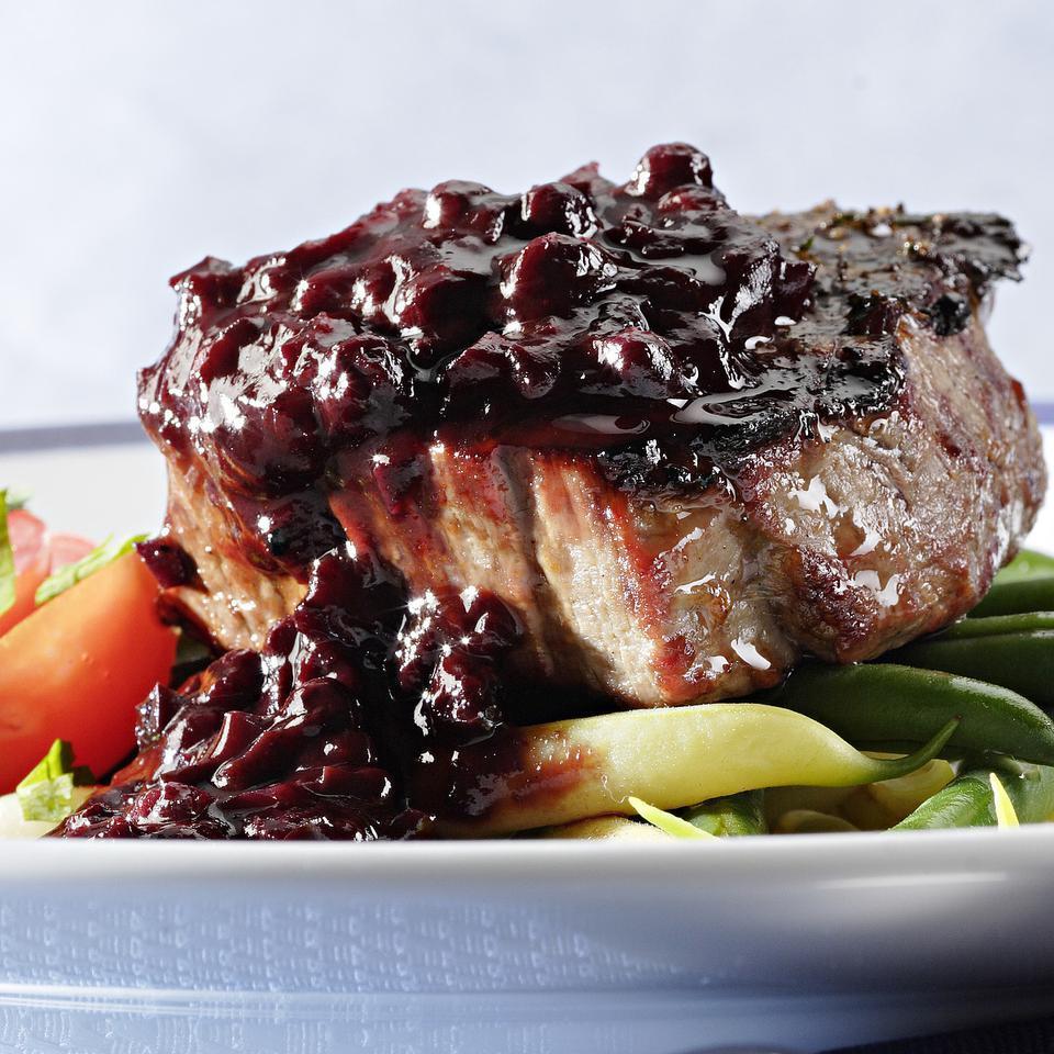 Filet Mignon with Blueberry-Bourbon Barbecue Sauce Carolyn Malcoun