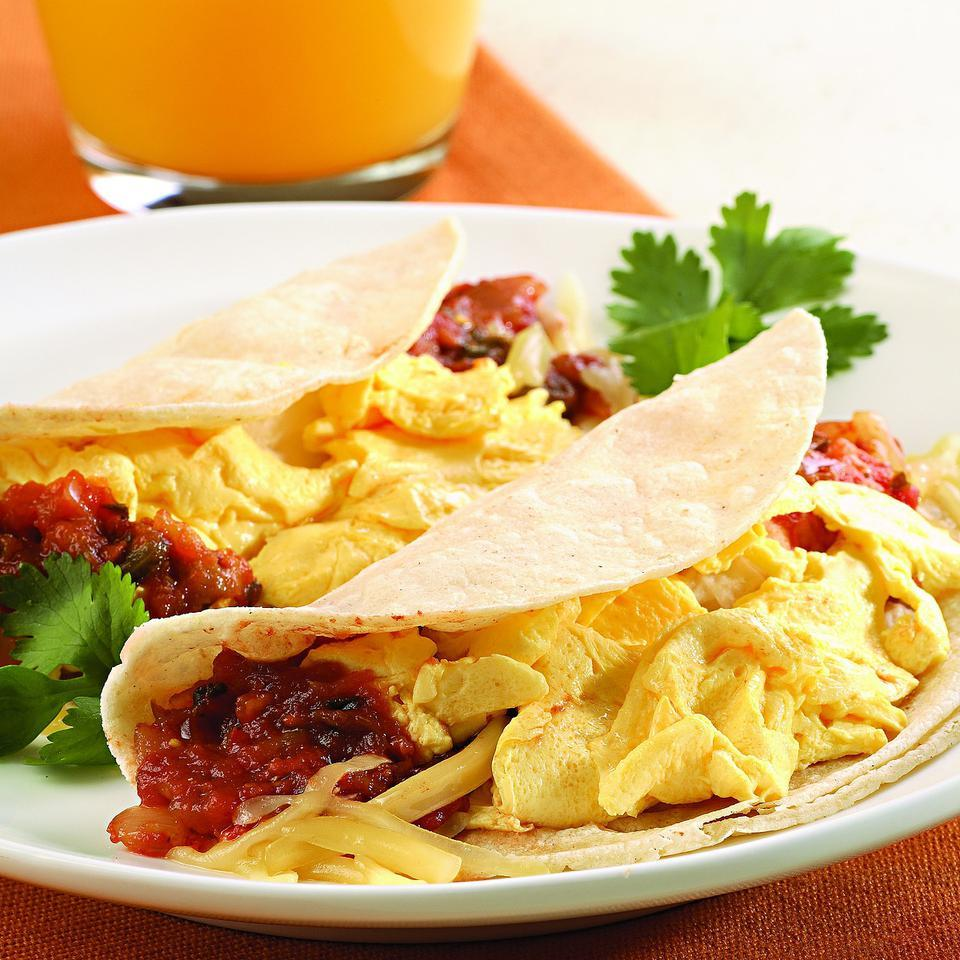 A smaller cousin of the breakfast burrito, the breakfast taco made with reduced-fat Cheddar and egg substitute is a satisfying and healthy breakfast option.
