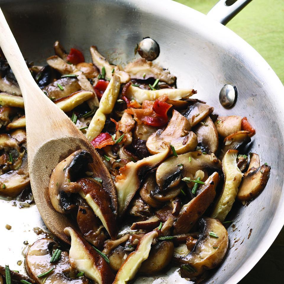 These simple sautéed mushrooms work as a quick, weeknight side dish. To turn them into a main course, toss with cooked pasta and a generous handful of Parmesan cheese or fold into an omelet with Gruyère, fontina or Swiss cheese.