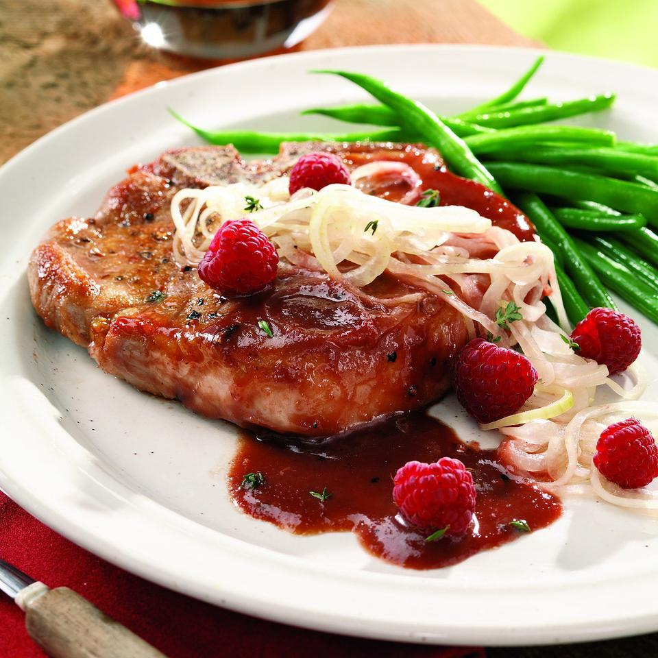 Raspberry-Glazed Pork Chops with Pickled Onions Marie Simmons