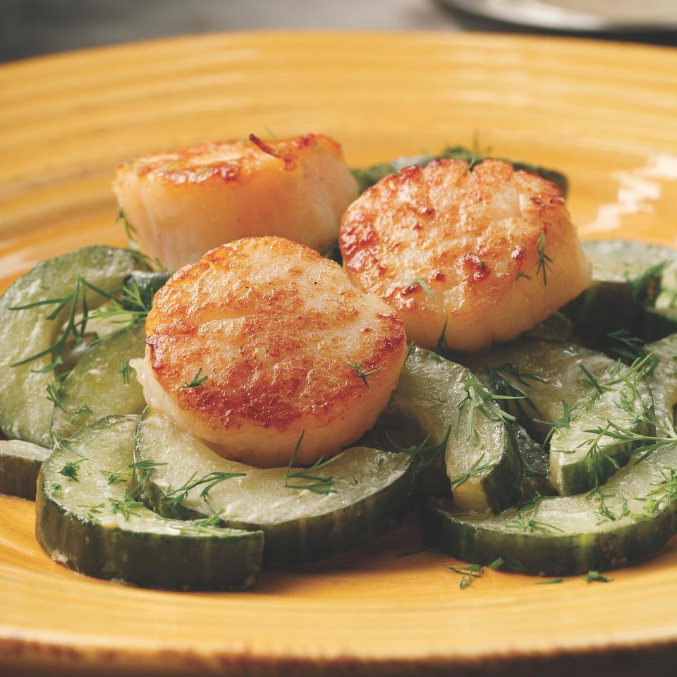 Seared Scallops with Sauteed Cucumbers Perla Meyers