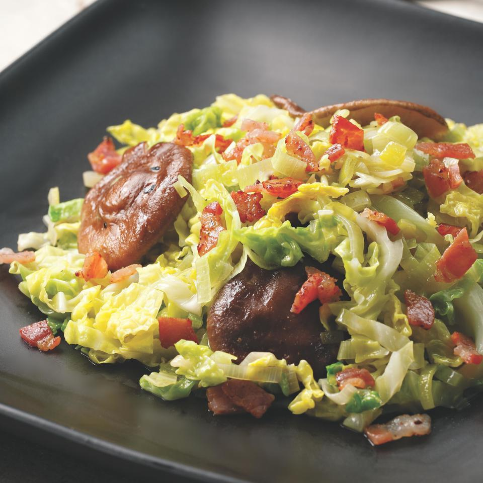 Skillet Cabbage with Bacon & Mushrooms Perla Meyers