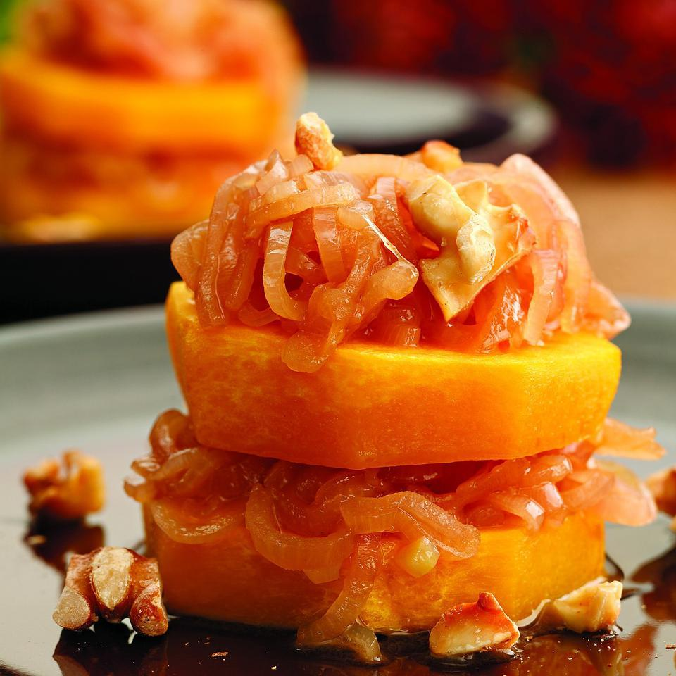 Squash Rounds with Shallot-Cider Sauce EatingWell Test Kitchen