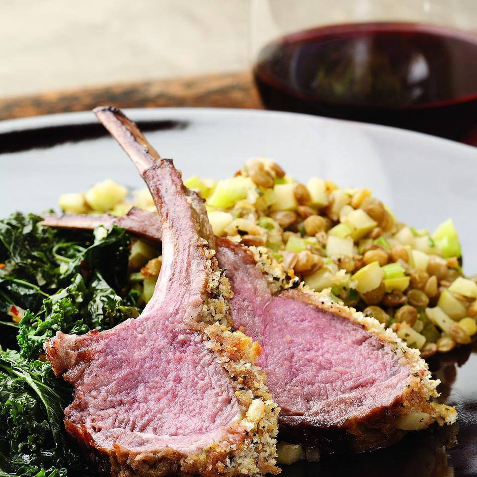 Rack of Lamb with Warm Apple & Lentil Salad EatingWell Test Kitchen