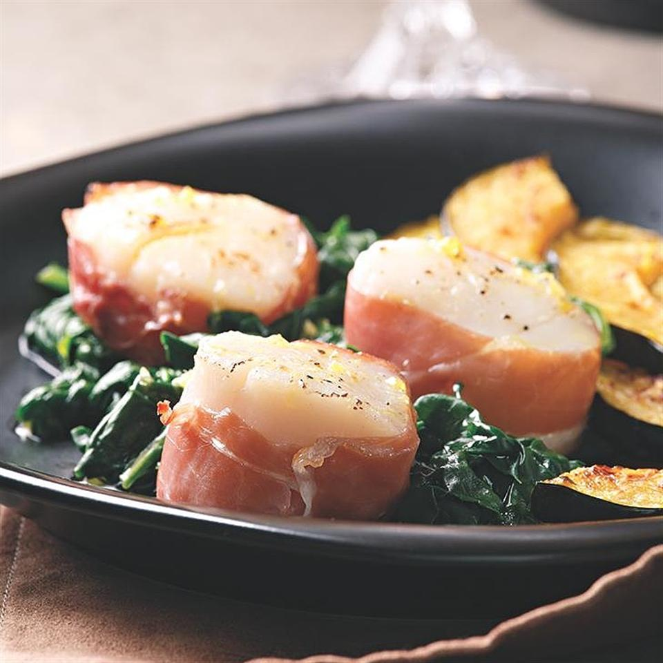 Prosciutto-Wrapped Scallops with Spinach EatingWell Test Kitchen