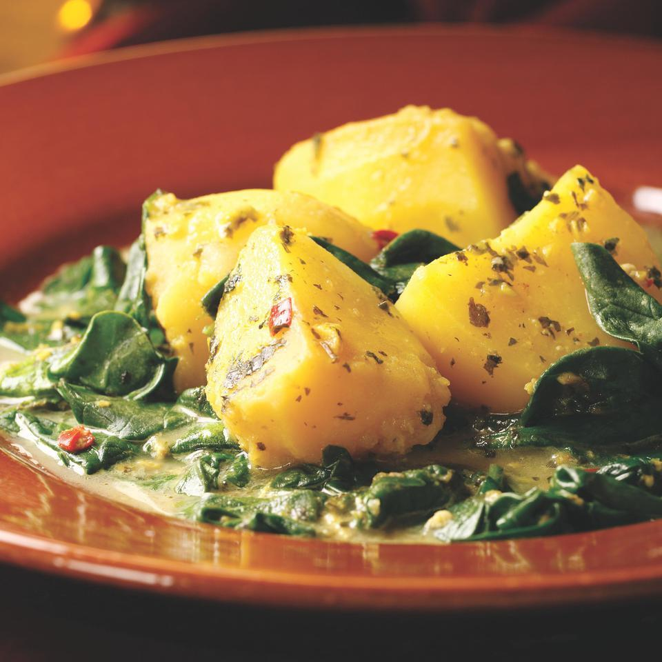 Spicy Stewed Potatoes & Spinach with Buttermilk (Aloo chaas) Raghavan Iyer