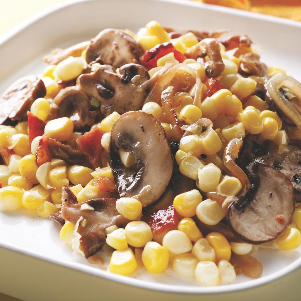 Corn with Bacon & Mushrooms EatingWell Test Kitchen