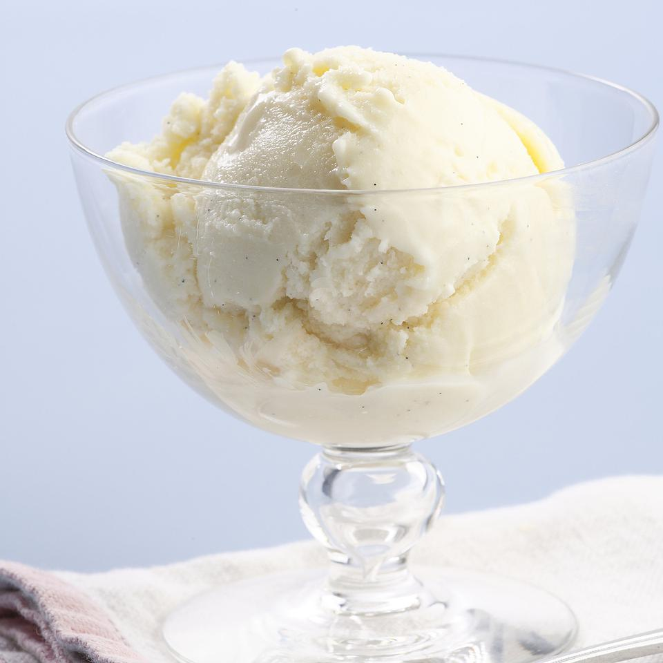 Here's a simple recipe for low-fat vanilla ice cream. Our version has all the richness you'll need but about 90 fewer calories than store-bought premium ice cream and a whopping 15 grams less total fat and 10 grams less saturated fat per serving.