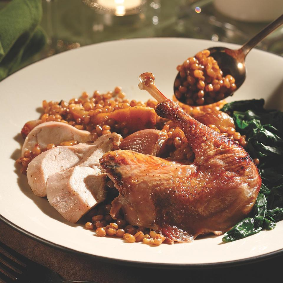 Roasted Pheasant with Wheat Berry Salad EatingWell Test Kitchen