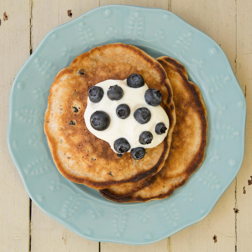 Dried blueberries give these pancakes a rich blueberry flavor and pecans liven up the texture with a bit of crunch.