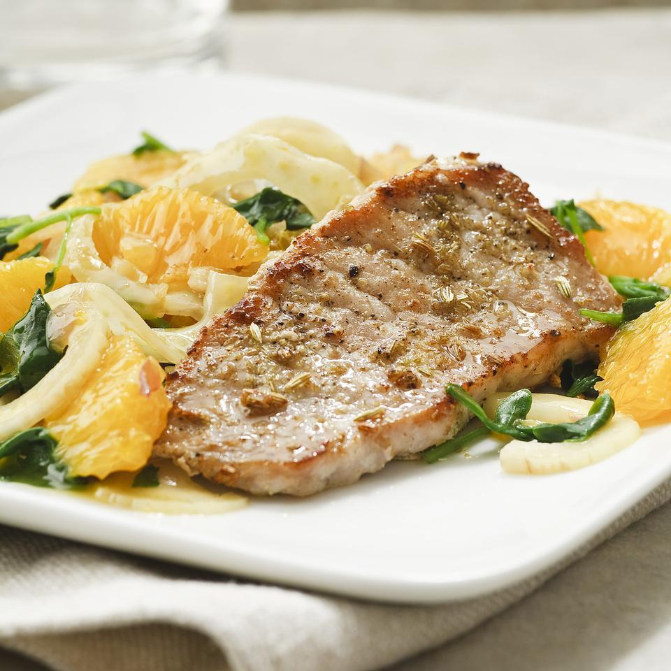 Pork Chops with Orange & Fennel Salad EatingWell Test Kitchen