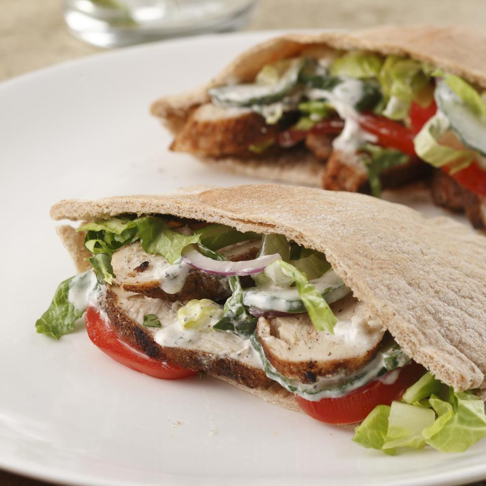 Indian-Spiced Chicken Pitas for Two EatingWell Test Kitchen