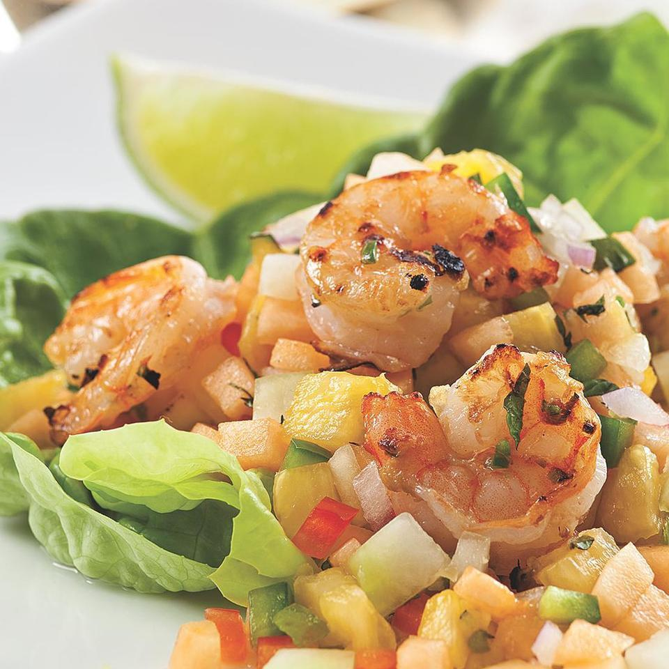 Grilled Shrimp with Melon & Pineapple Salsa Marie Simmons