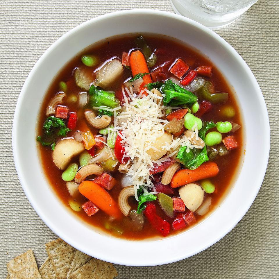 Minestrone with Endive & Pepperoni EatingWell Test Kitchen
