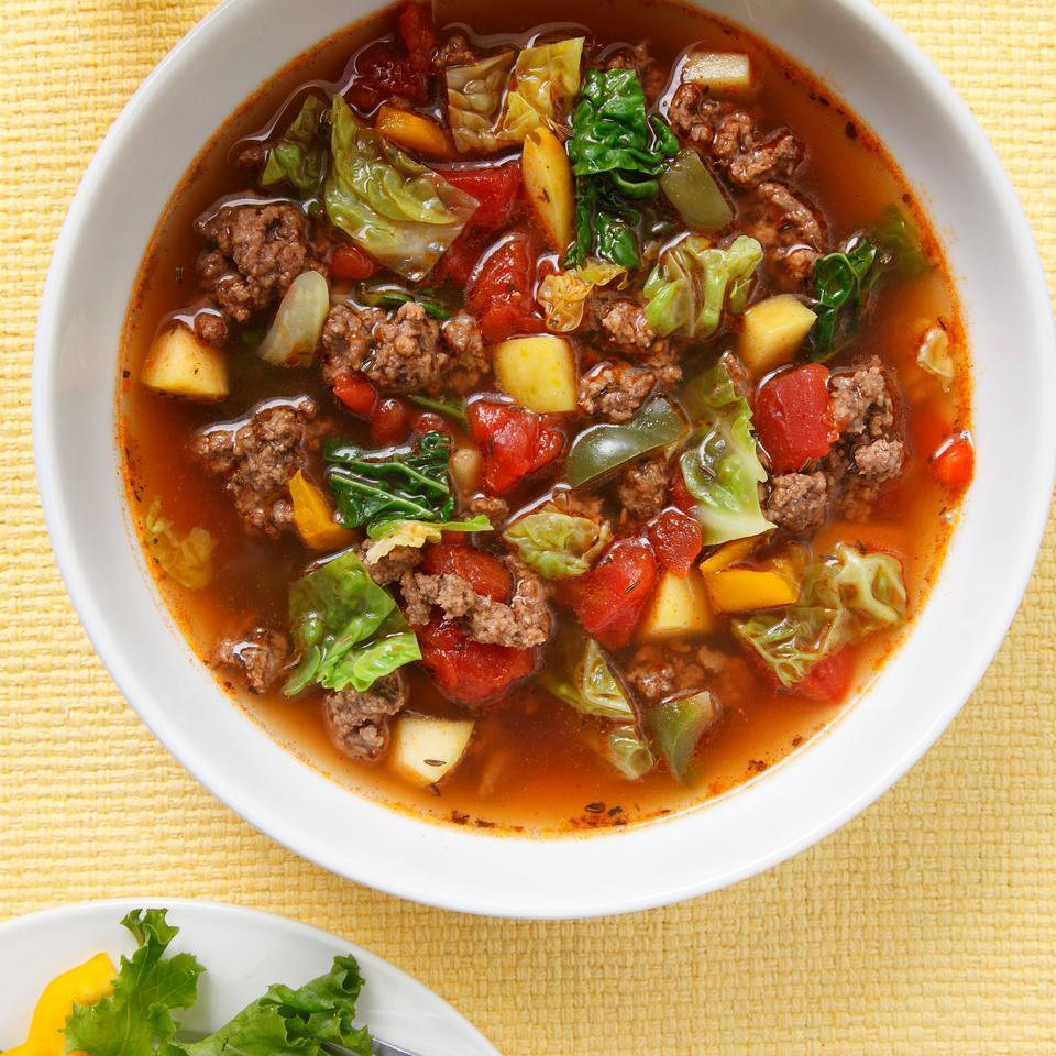 Sweet & Sour Beef-Cabbage Soup EatingWell Test Kitchen