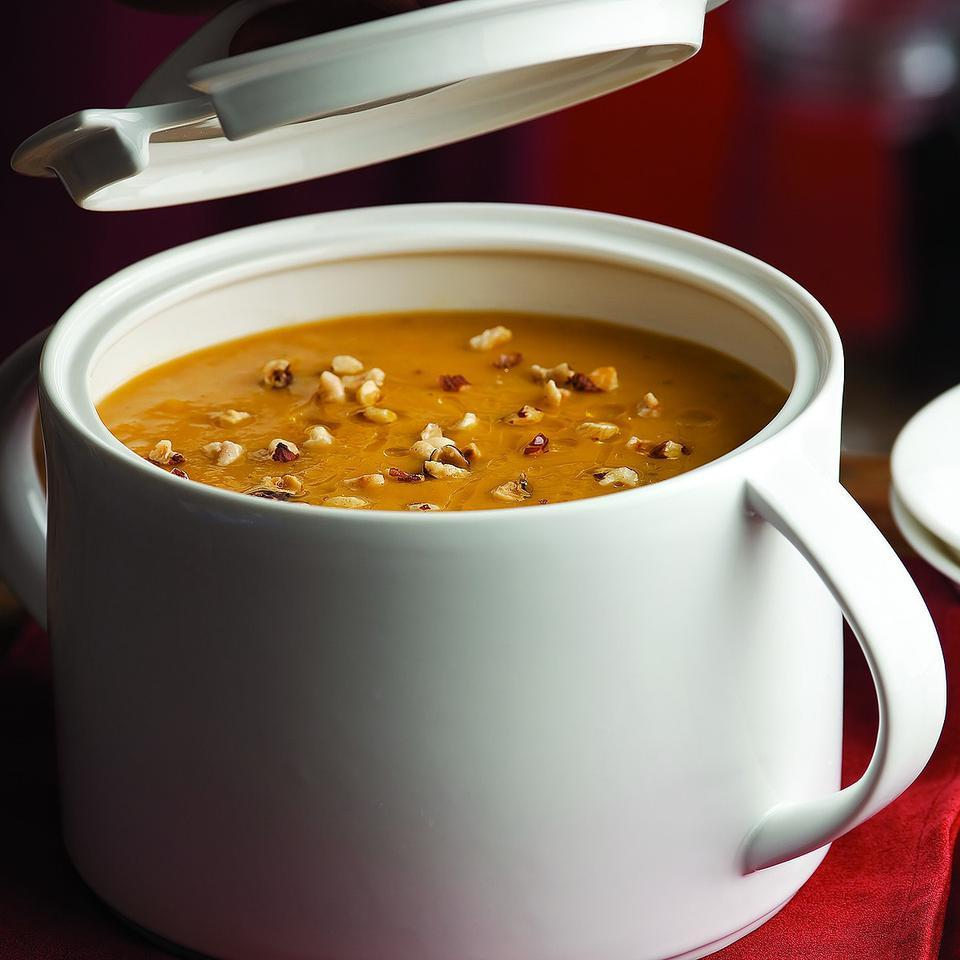 Apples add just a hint of sweetness to this velvety pumpkin soup. Try it as a delightful first course for a special meal.