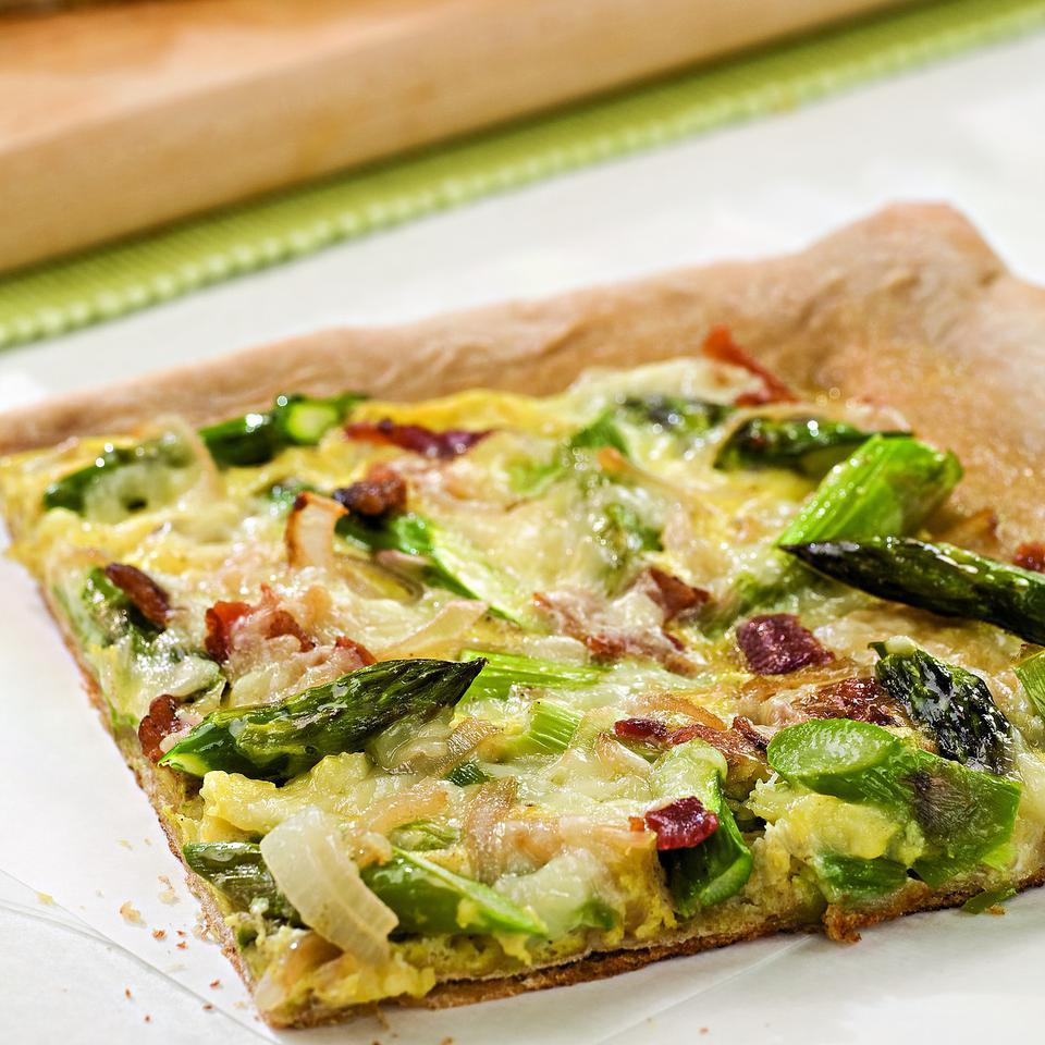 Bacon, Egg & Asparagus Pizza EatingWell Test Kitchen
