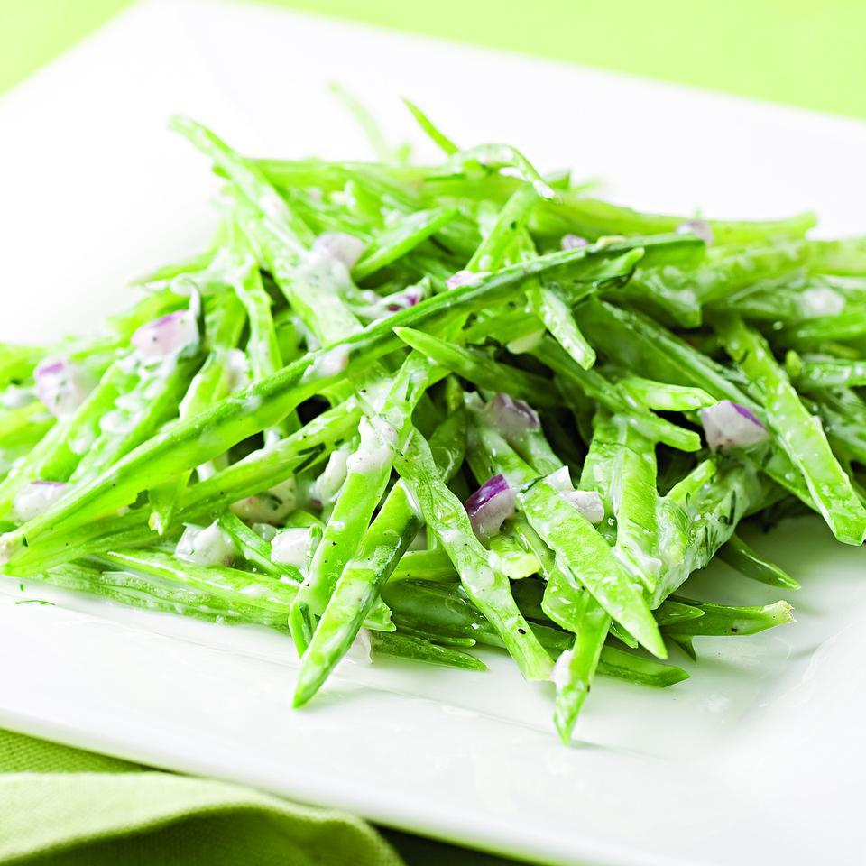 Snow Peas with Creamy Ranch Dressing EatingWell Test Kitchen