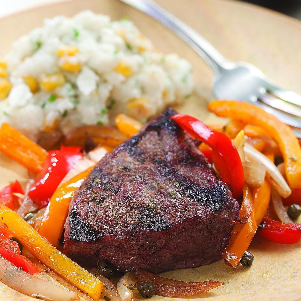 Grilled Steak with Pepper Relish EatingWell Test Kitchen