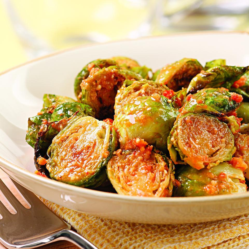 Here we toss nutty roasted sprouts with a quick sun-dried tomato pesto.