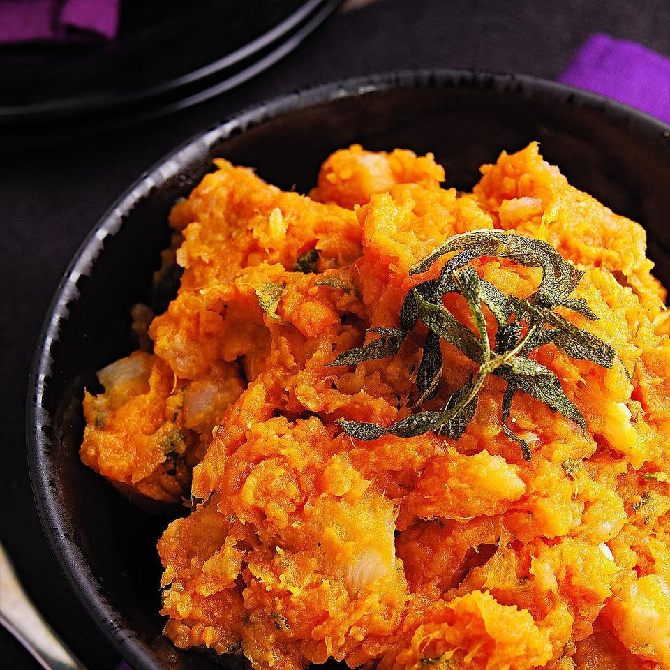 This sweet potato and turnip mash is fragrant with fresh sage.