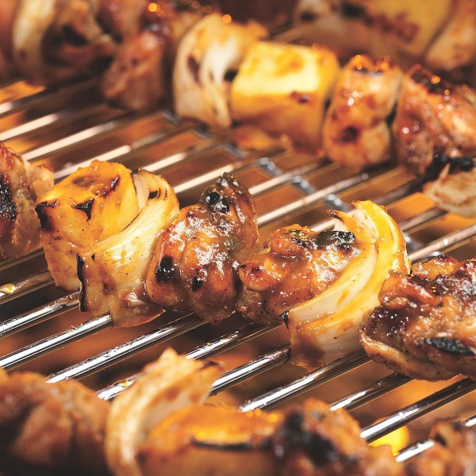 Caribbean Chicken & Pineapple Kebabs with Banana Salad Bruce Aidells