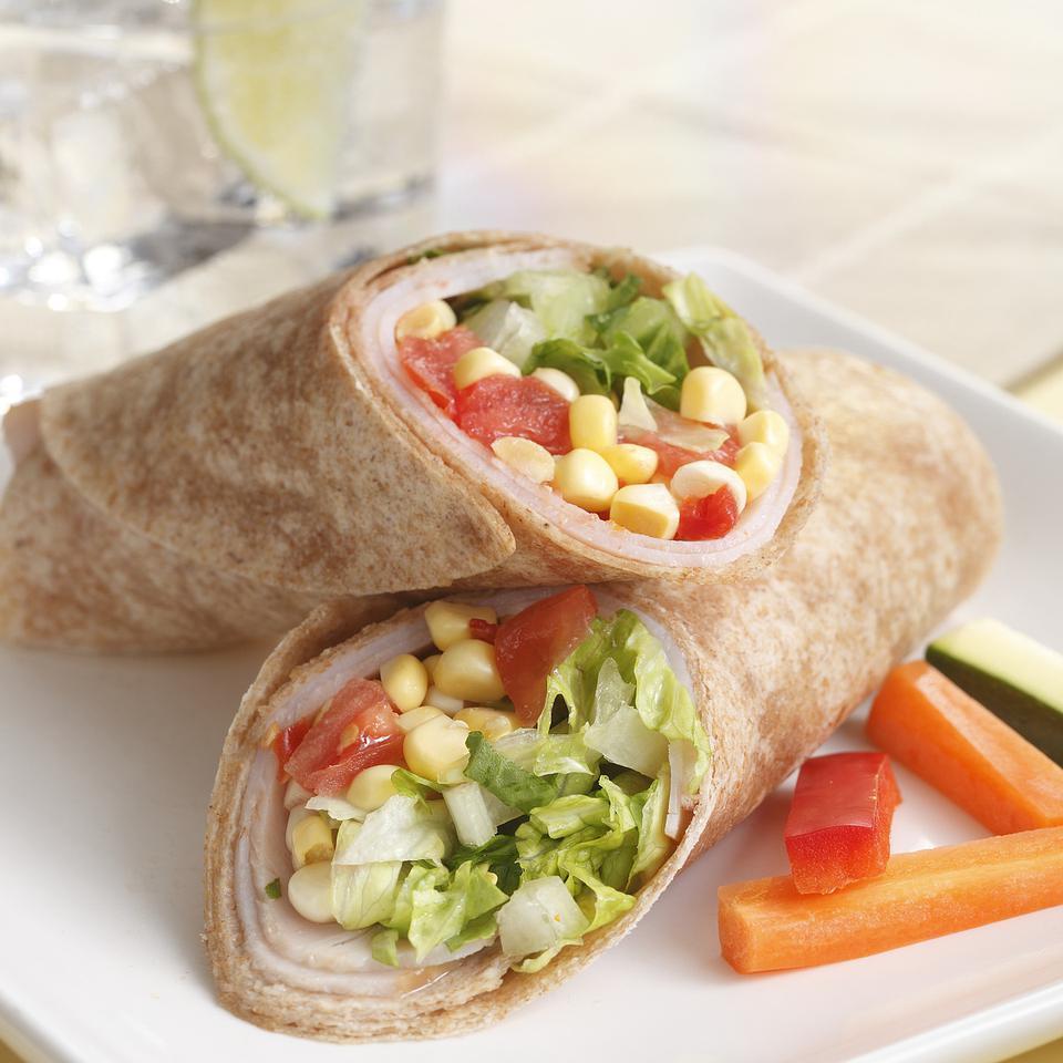 Turkey, Corn & Sun-Dried Tomato Wraps EatingWell Test Kitchen