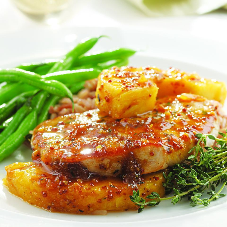 Thyme, Pork Chop & Pineapple Skillet Supper EatingWell Test Kitchen