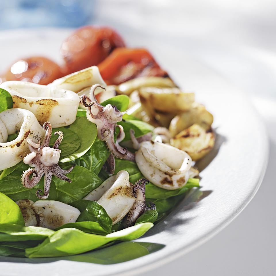 Grilled Calamari & Potato Salad Carolyn Malcoun