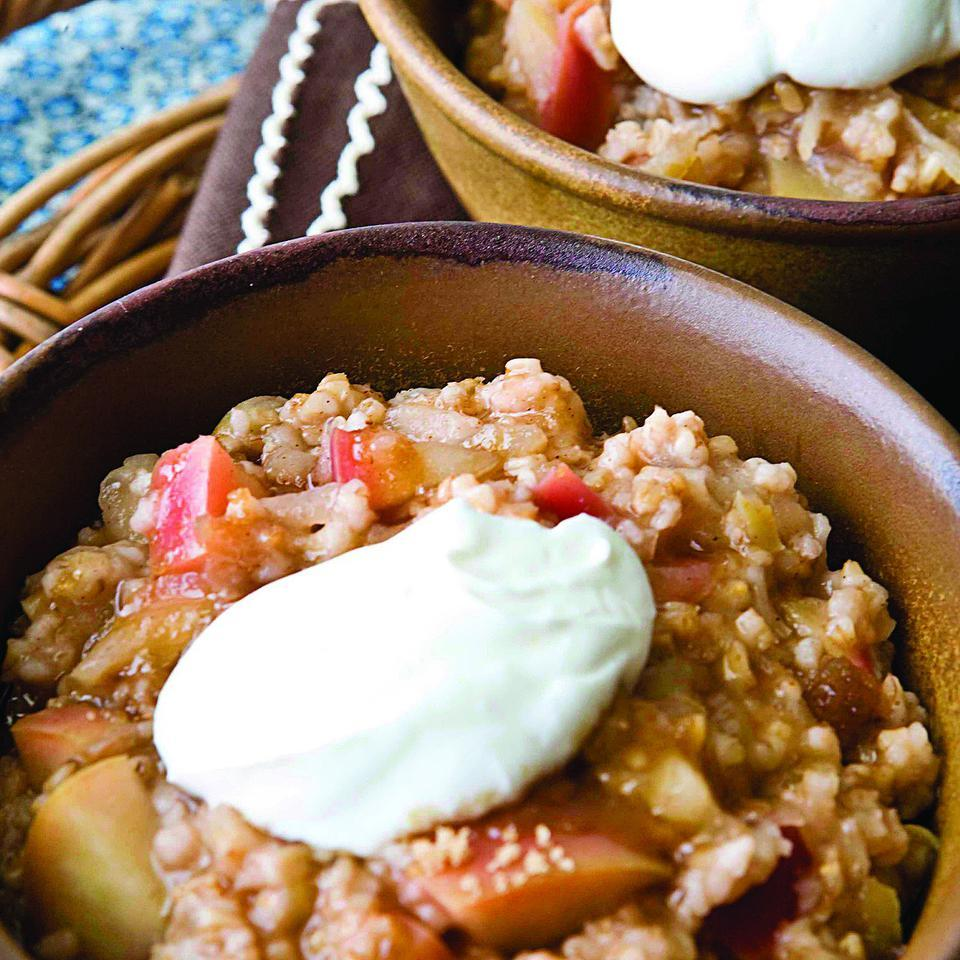 In this healthy oatmeal recipe, cook apples into your morning oatmeal and you'll start the day right with whole grains and a serving of fruit.