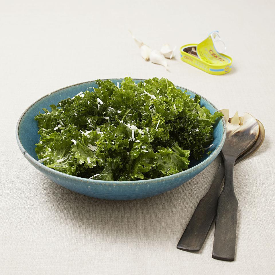 A few minutes of judicious massaging will transform bitter mustard greens into a mellow, well-balanced salad spiked with hints of lemon, garlic and Parmesan.
