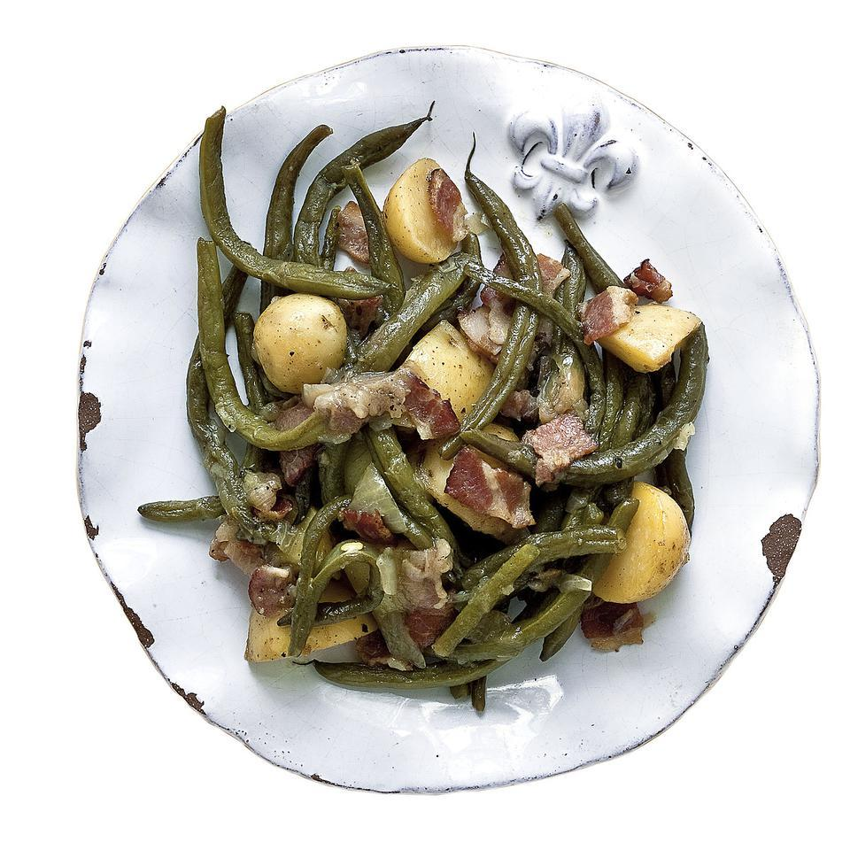 This green bean recipe from chef Alex Patout of Landry's restaurant in New Iberia, Louisiana, gets plenty of flavor from bacon and onions.
