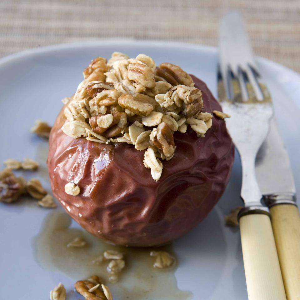 Think of these baked apples as individual apple crisps. Use apples that get nice and soft when they're cooked. Try serving it with a splash of dark rum and a dollop of fat-free Greek-style yogurt.