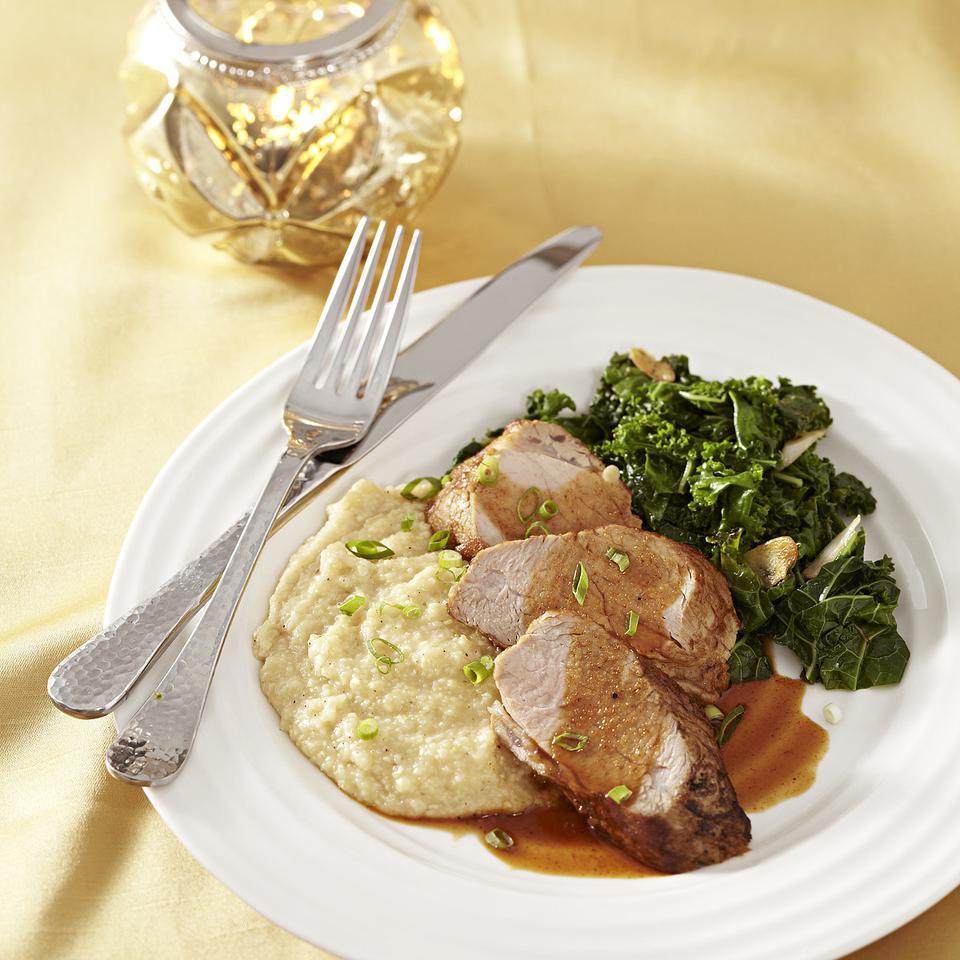 Ancho-Honey Pork Tenderloin with Cheese Grits EatingWell Test Kitchen