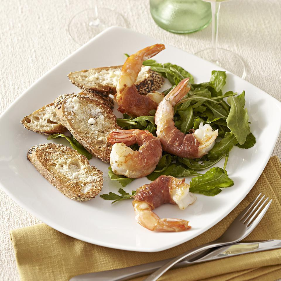 Prosciutto-Wrapped Shrimp with Arugula Salad for Two EatingWell Test Kitchen