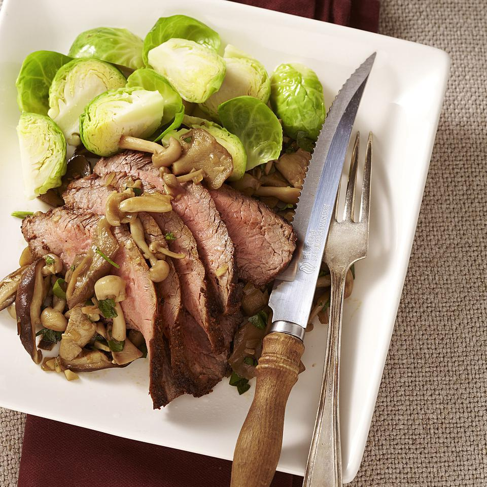 Spice-Rubbed Steak with Sauteed Wild Mushrooms David Bonom