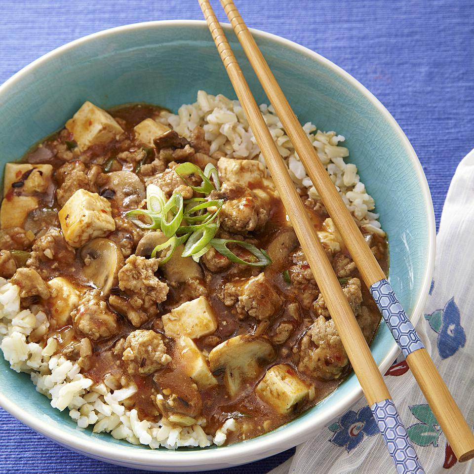 Ma Po Tofu is a traditional Chinese recipe usually made with ground pork. This delicious, healthy version uses ground turkey to cut saturated fat and calories and adds mushrooms for extra veggies. Serve with brown rice and make it extra special with a drizzle of sesame oil just before serving.