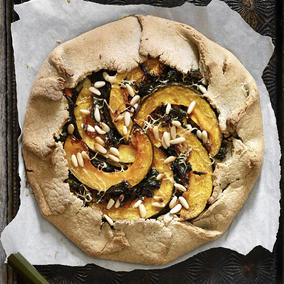 Kale and kabocha squash pair deliciously in this healthy vegetarian galette recipe that looks as fabulous as it tastes. Kabocha squash doesn't need to be peeled, but if it isn't available, use buttercup squash instead.