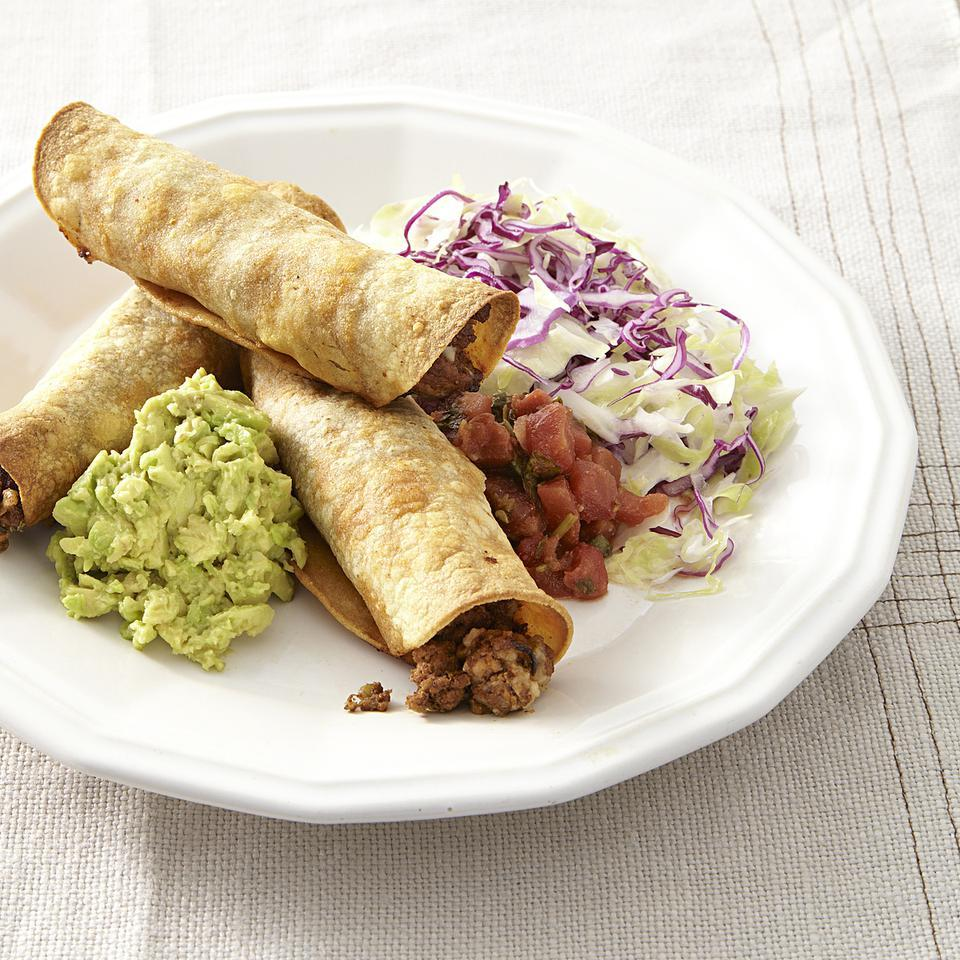 Oven-Fried Beef Taquitos for Two EatingWell Test Kitchen