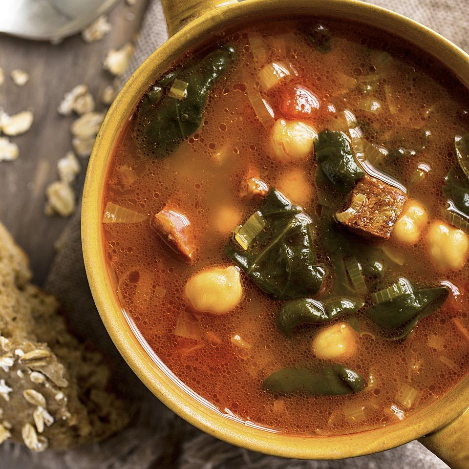 Chickpea, Chorizo & Spinach Soup Ivy Manning