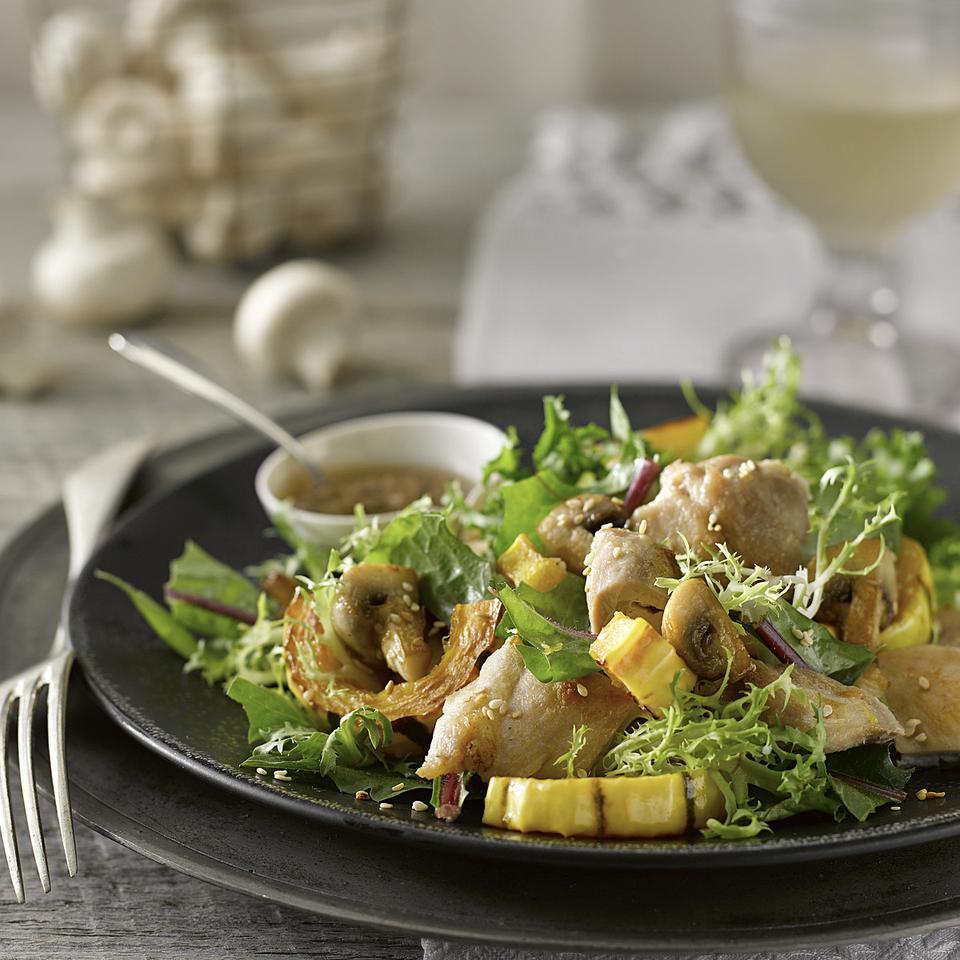 Mushroom, Squash & Chicken Salad with Sesame Dressing Katie Webster