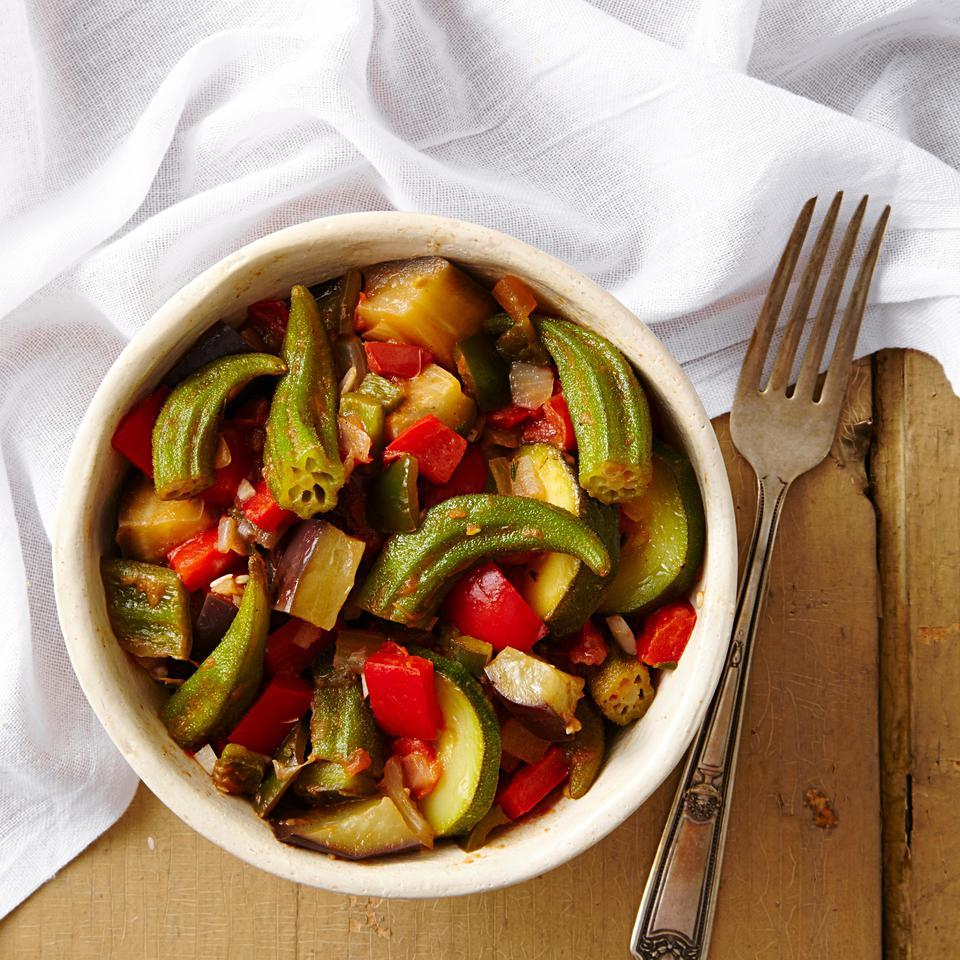 Adding okra to traditional ratatouille gives this French vegetable stew recipe Southern flair. It's delicious on the day it's cooked, but even better the next day. Serve as a side to grilled chicken or on top of thick, crusty bread.